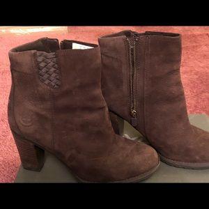 Brown timberlands waterproof suede boots